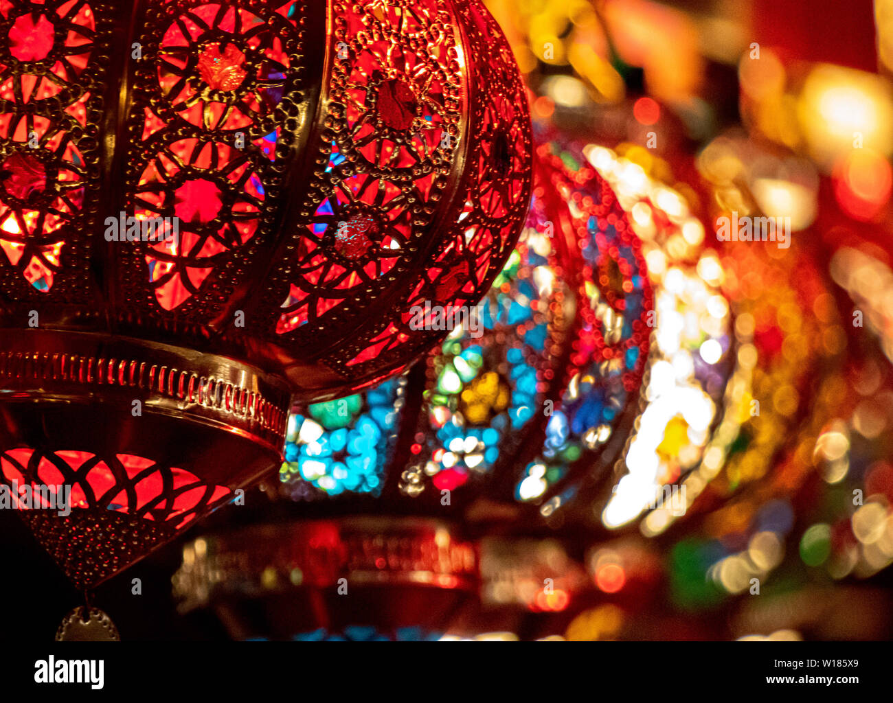 Oriental Light Lamps Bazar Background Travel Morocco Stock Photo Alamy