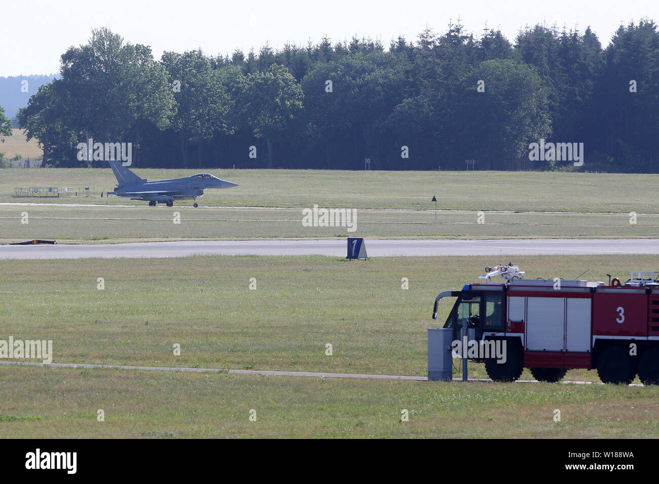 Laage, Germany  01st July, 2019  A Eurofighter drives to the