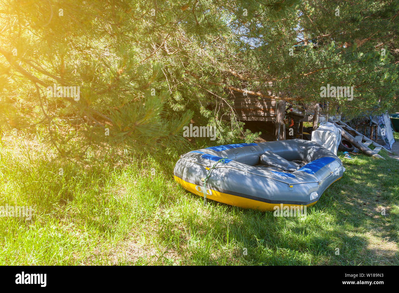 Tent Camping In The Shade Under The Trees With A Wooden ...