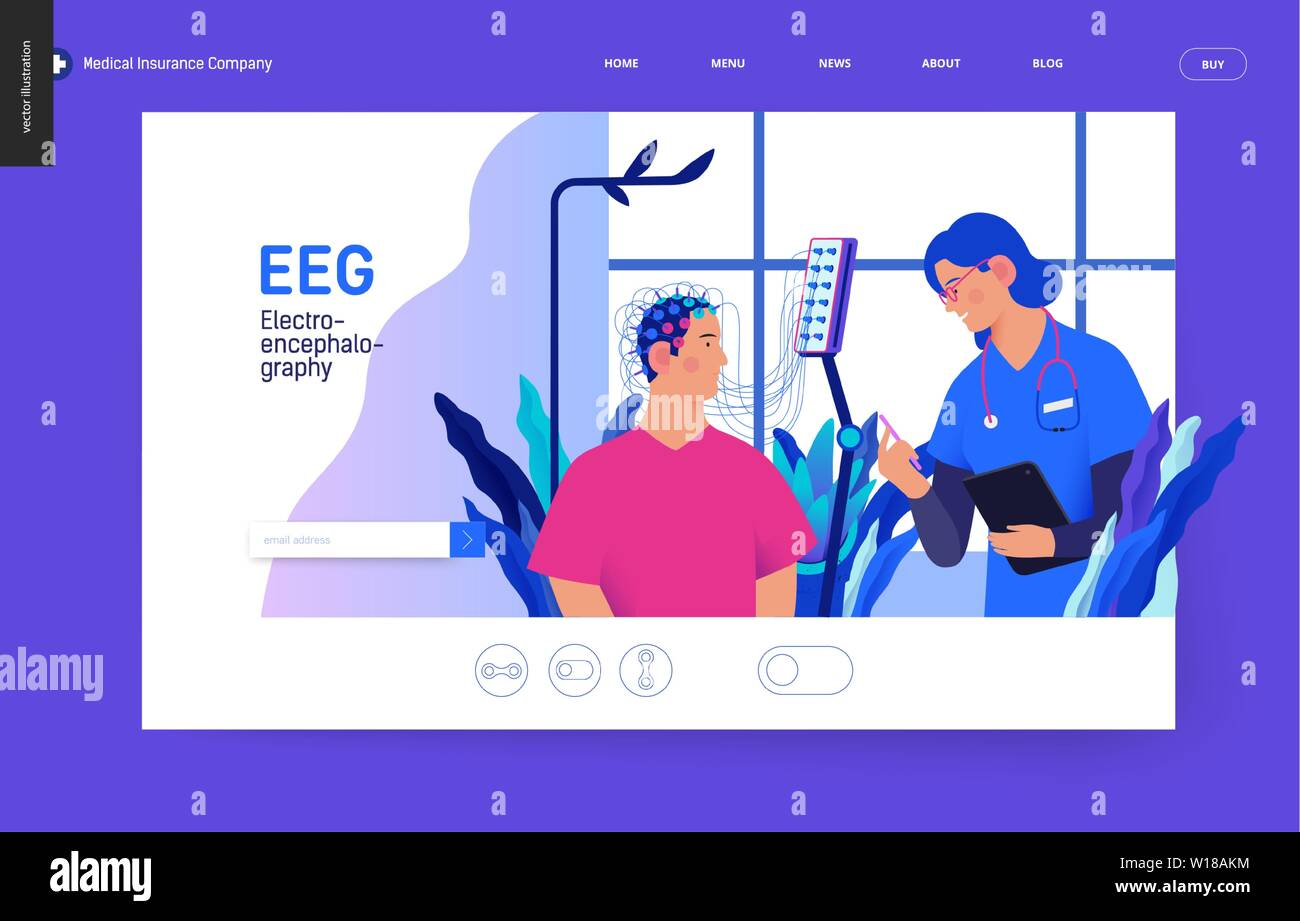 Medical tests template Blue - EEG - electroencephalography - modern flat vector concept digital illustration of encephalography procedure - a patient Stock Vector