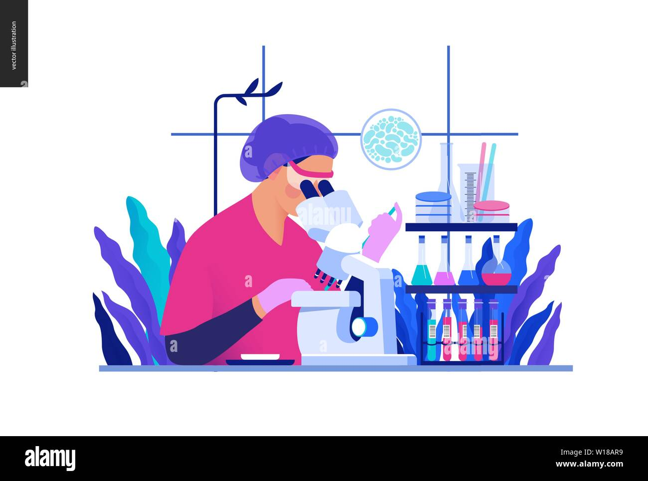 Medical tests Blue illustration -chemical laboratory analysis - modern flat concept digital illustration - laboratory analysis -woman laboratory assis Stock Vector