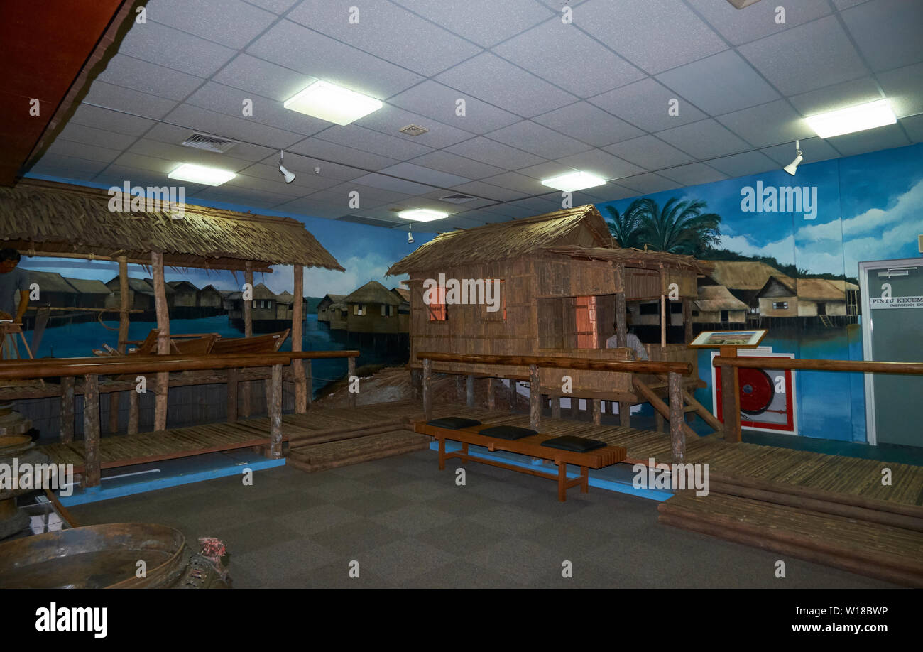 Interior view of the Malay Technology Museum, featuring dioramas that show traditional life in Bandar Seri Begawan, Brunei - Stock Image
