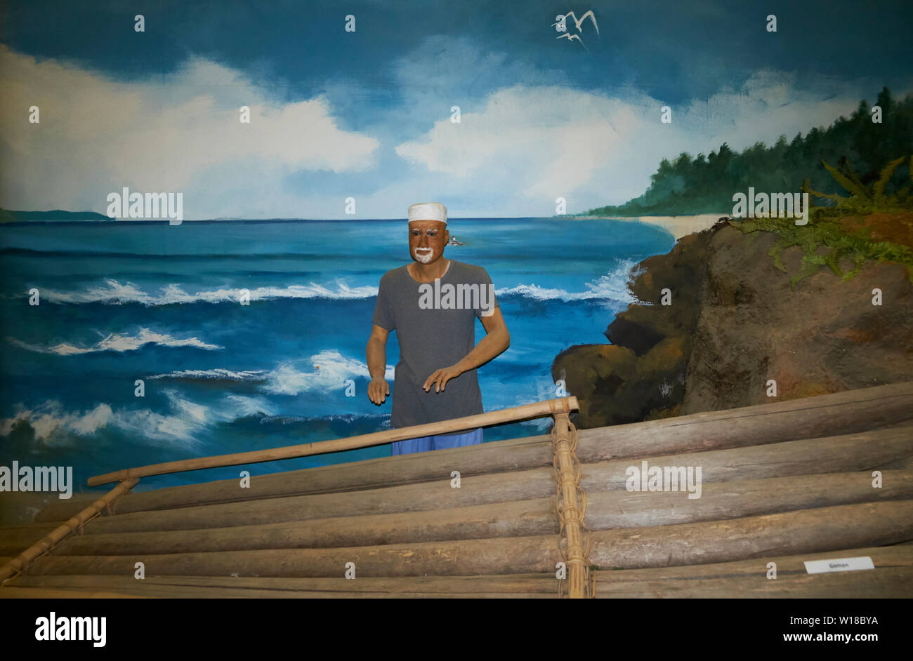 Diorama of a Kampong man building a raft in the Malay Technology Museum in Bandar Seri Begawan, Brunei - Stock Image