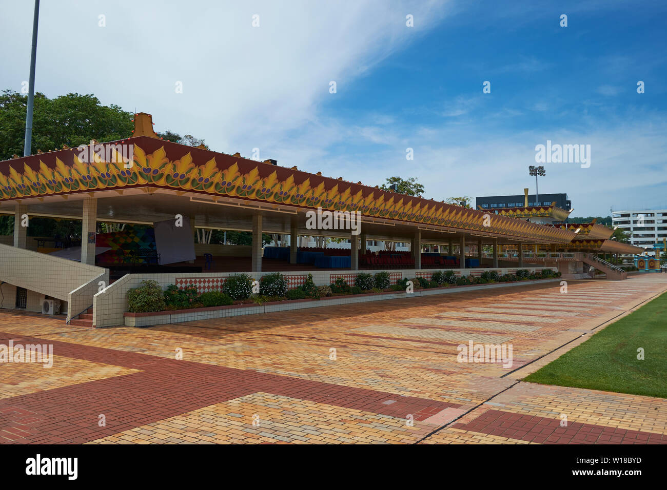 The main grandstand for viewing events at the Taman Haji Sir Muda Omar Ali Saifuddien field in Bandar Seri Begawan, Brunei - Stock Image