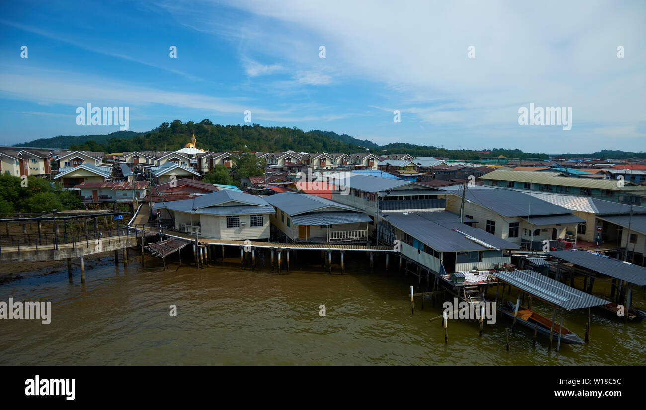 Overview look at water stilt village Kampong Ayer in Bandar Seri Begawan,Brunei. - Stock Image