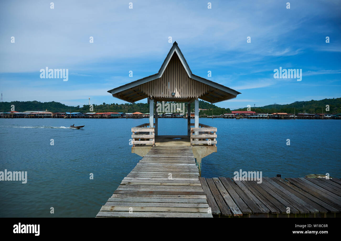 One of the many riverside docks used for shuttling in the water stilt village Kampong Ayer in Bandar Seri Begawan,Brunei. - Stock Image