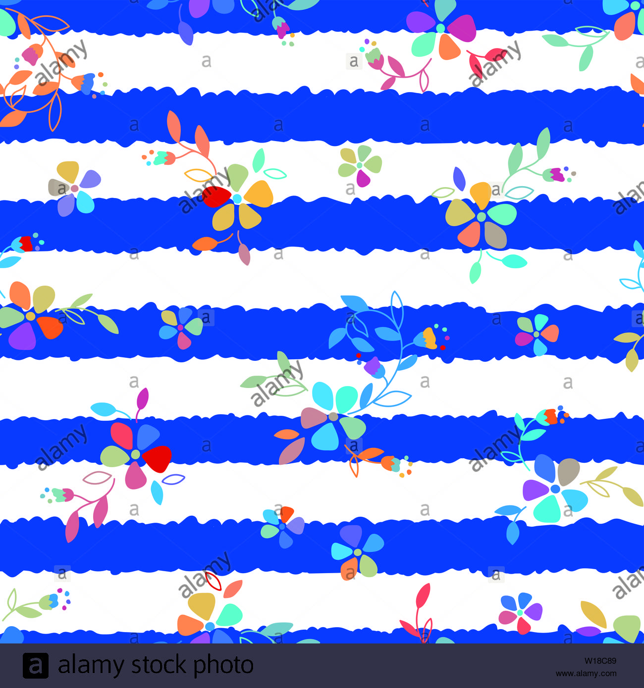 Colorful Folk Flowers seamless vector repeating background. Small florals pattern. Dirndl, Trachtenstoff, Tracht - Great for Textiles, Banners, Wallpa Stock Photo