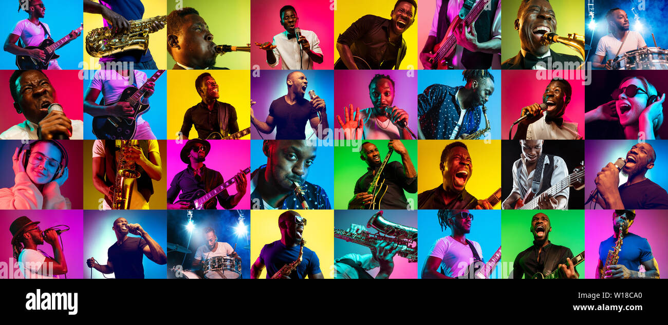 Collage of different photos of 5 young people in neon light