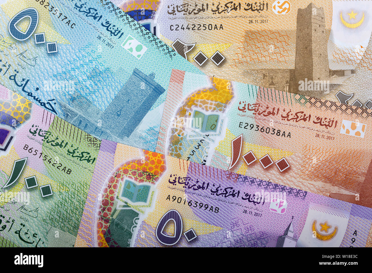 Money from Mauritania, a business background - Stock Image