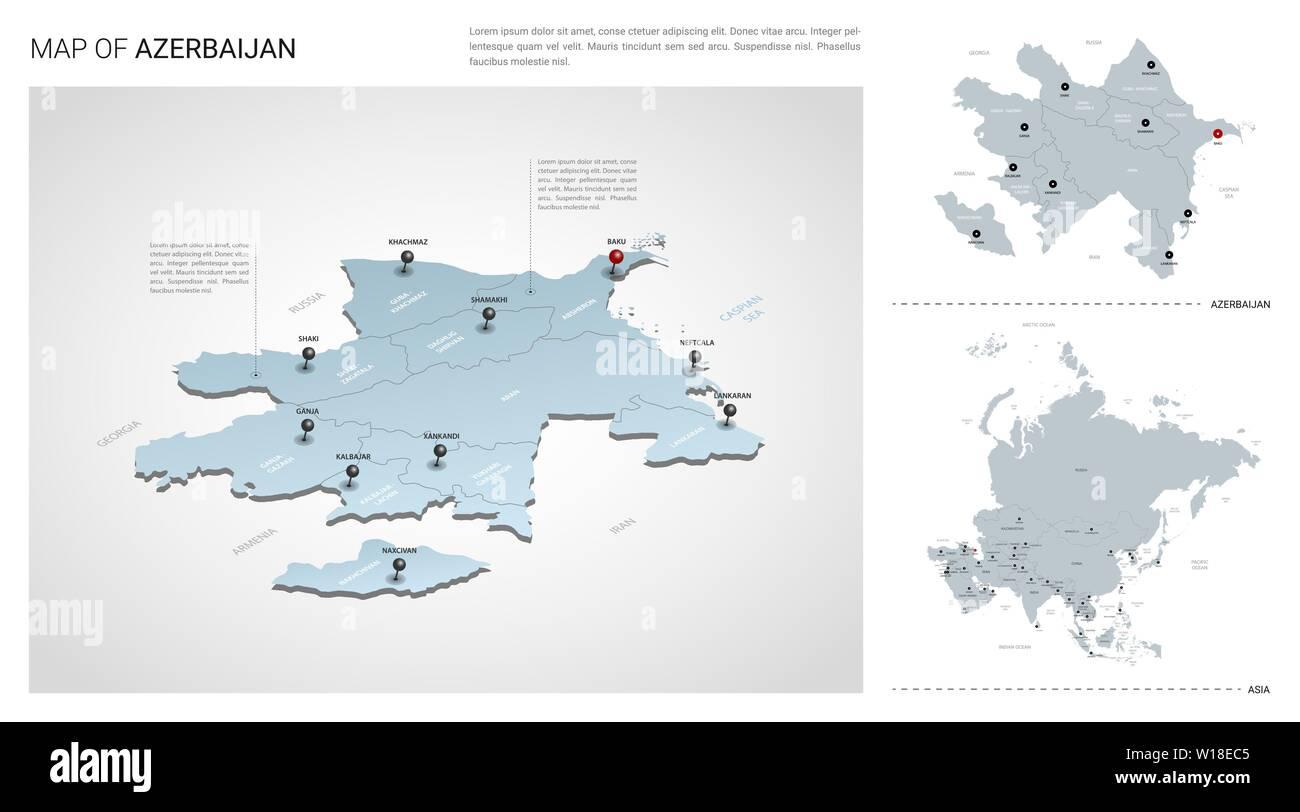 Vector set of Azerbaijan country. Isometric 3d map ...
