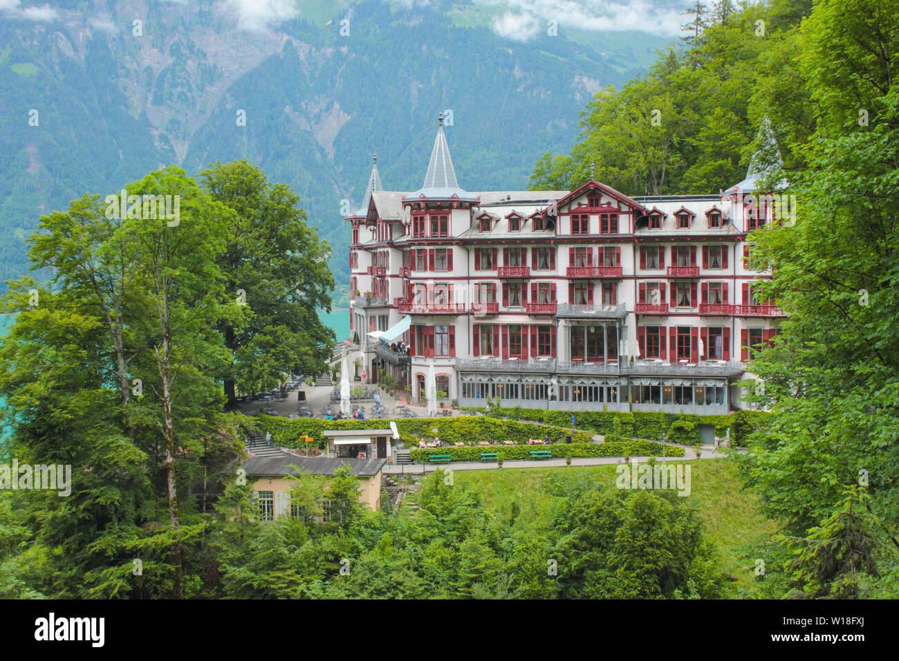 Historic hotel Hotel Giessbach, Switzerland. Stock Photo