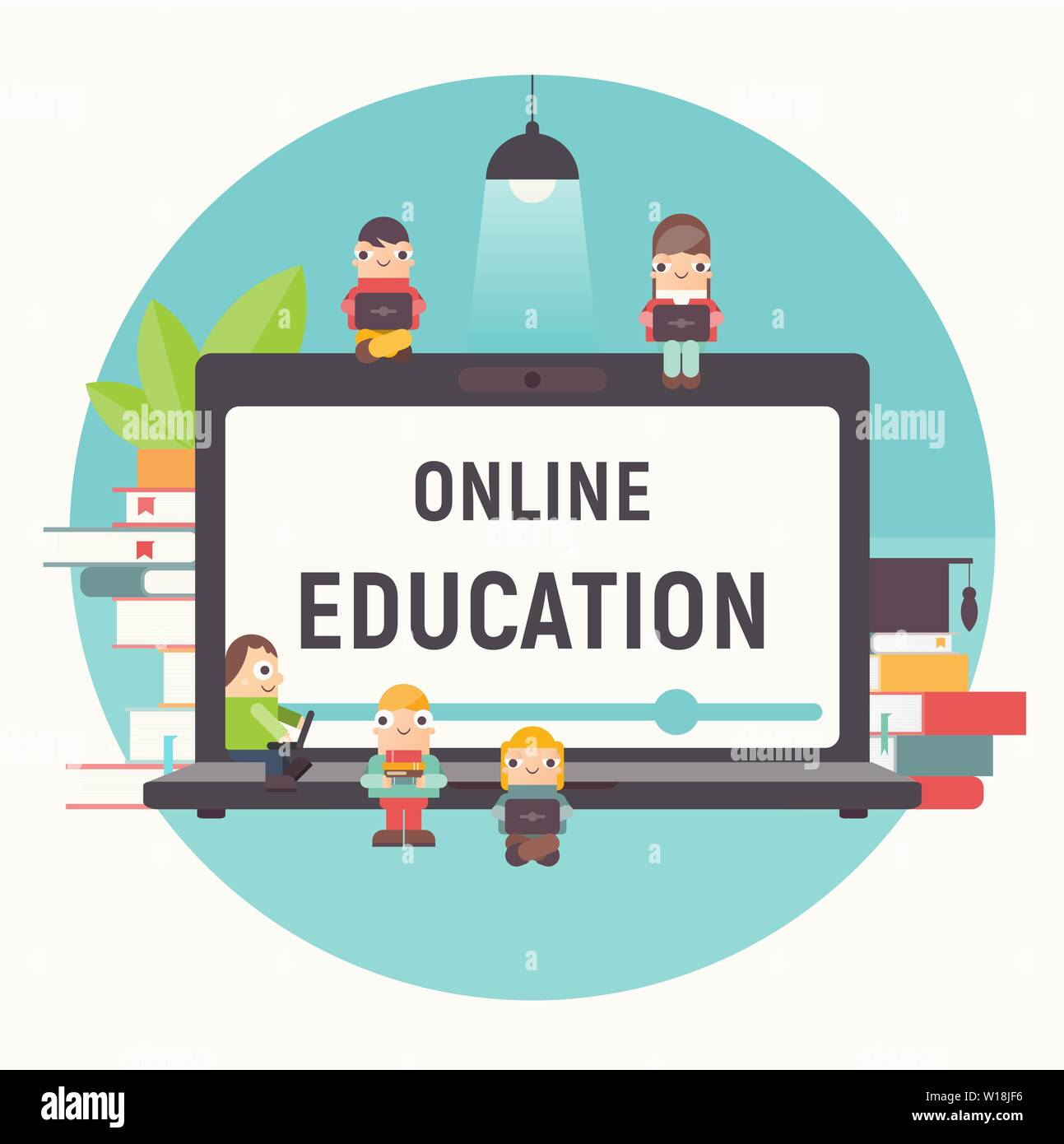 Online Education Concept Online Courses Tutorials E Learning Small Size Cartoon People Near Big Laptop Books And Lamp Vector Illustration Stock Vector Image Art Alamy
