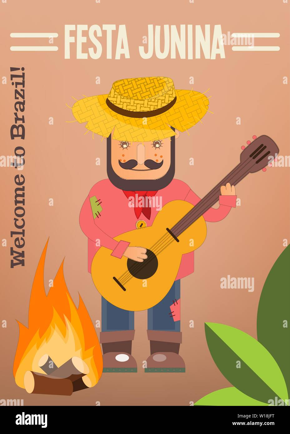 Festa Junina - Brazil June Festival. Poster for Folklore Holiday. Funny  Hick in Straw Hat Plays the Guitar near Bonfire. Vector Illustration. Stock Vector
