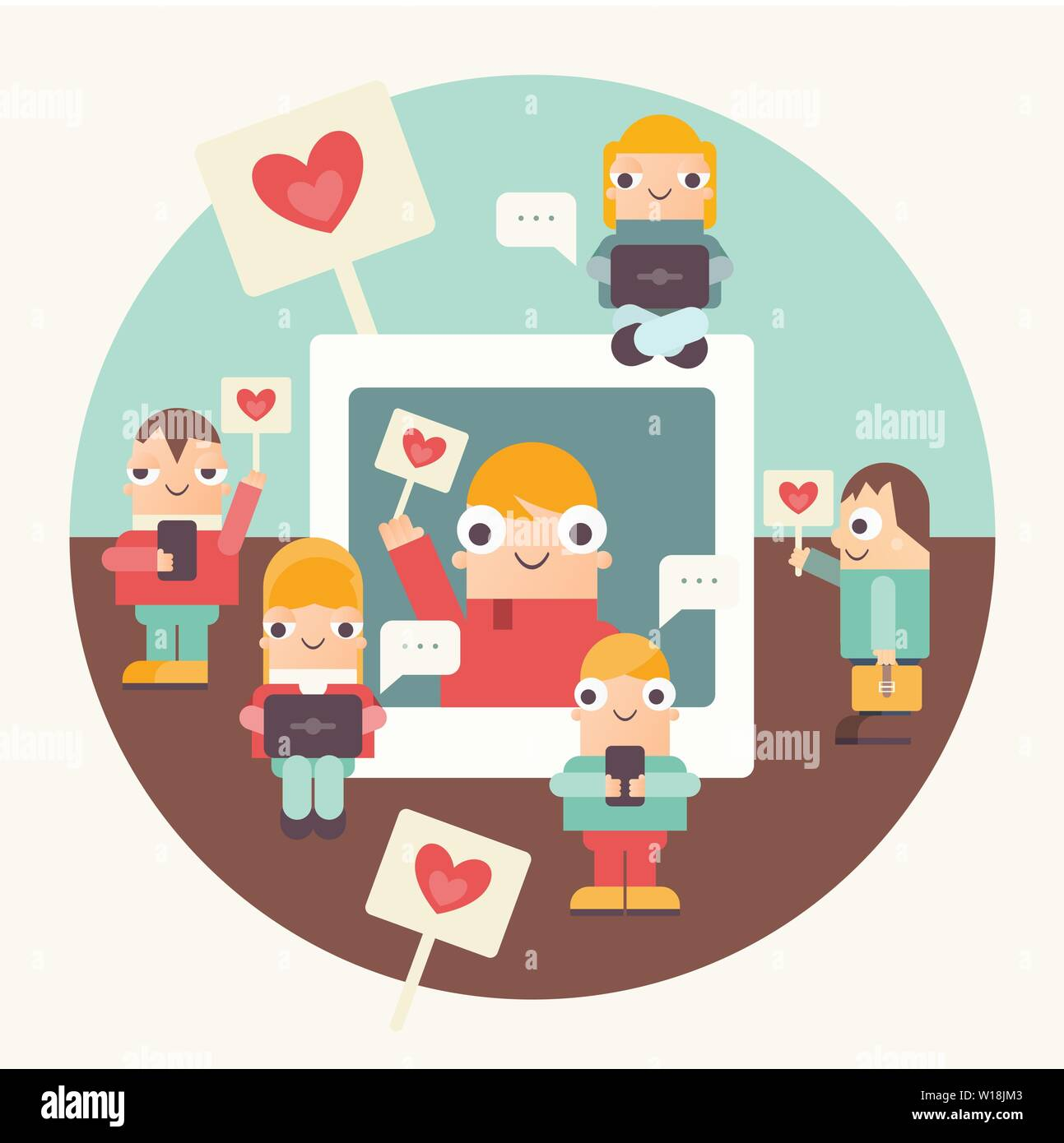Social Networking Concept Funny People Using Cellphone Laptop And Smartphone For Sending Posts In Social Media Cartoon Characters Near Big Interne Stock Vector Image Art Alamy