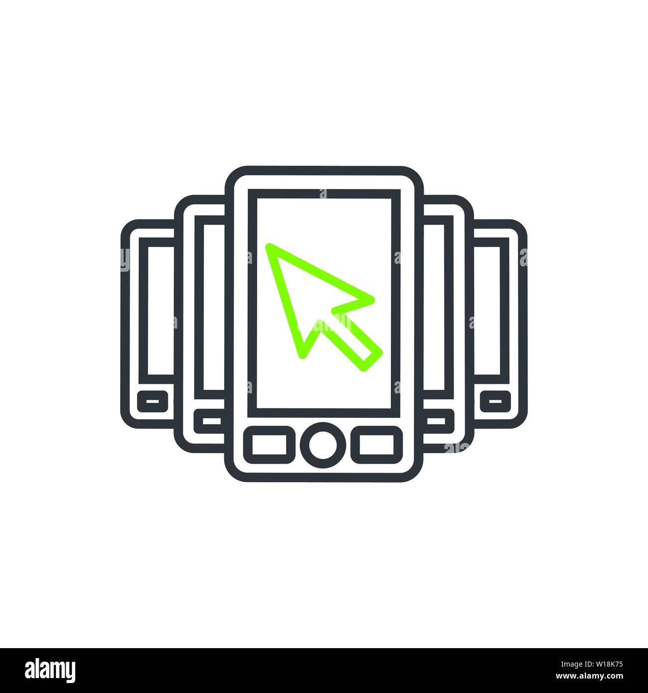Website clicks icon ; pointer icon - unscrupulously acquiring website clicks - Stock Vector