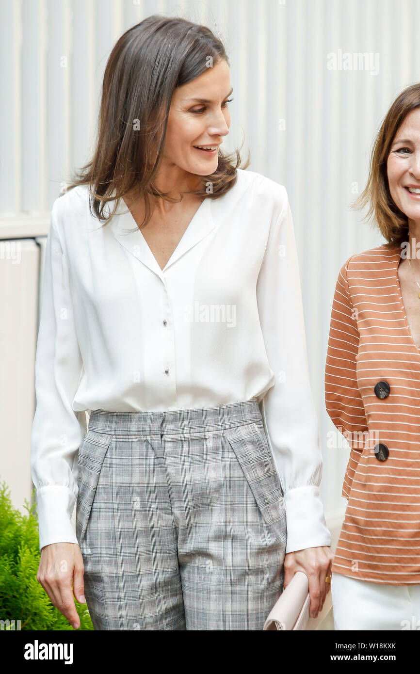 Madrid, Spain  01st July, 2019  Queen Letizia attends a meeting with