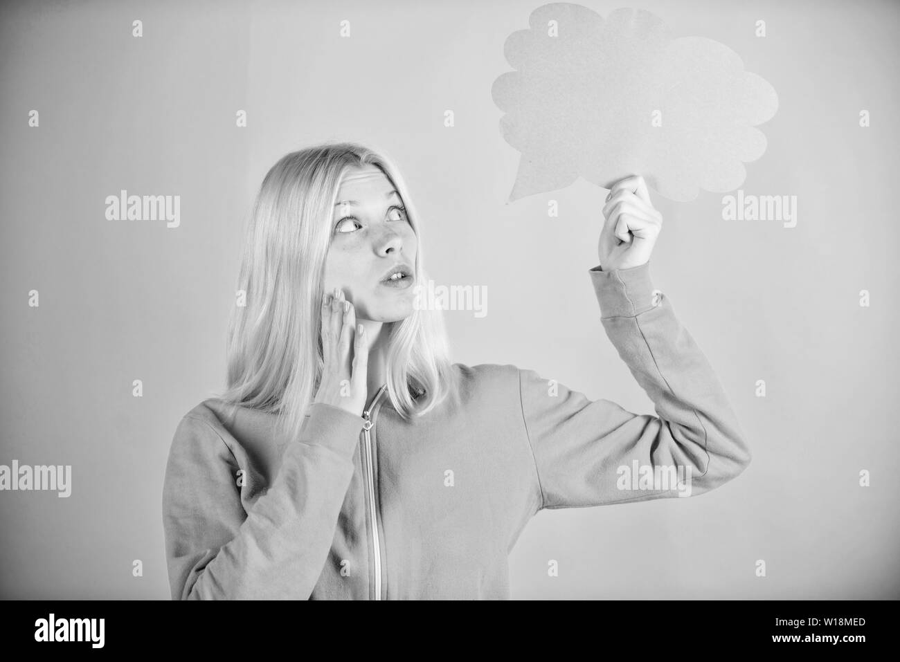 What is on her mind. Think about. Fresh idea. Idea and creativity concept. Ideas and thoughts copy space. Girl cute blonde with speech bubble. Thought of inspired adorable woman. Idea and inspiration. - Stock Image
