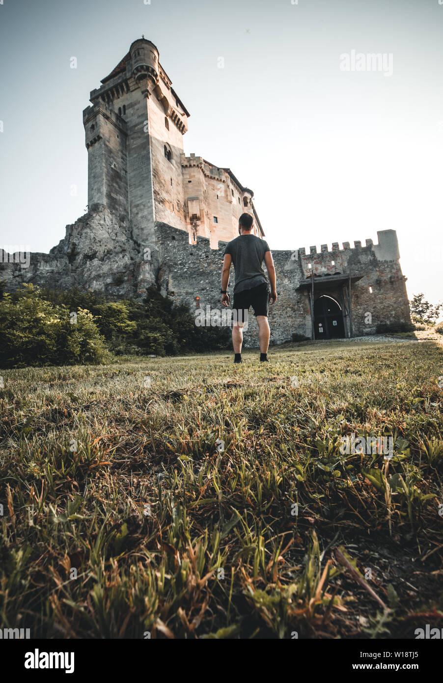 Photo of medieval castle in Austria burg lichtenstein in summer Stock Photo
