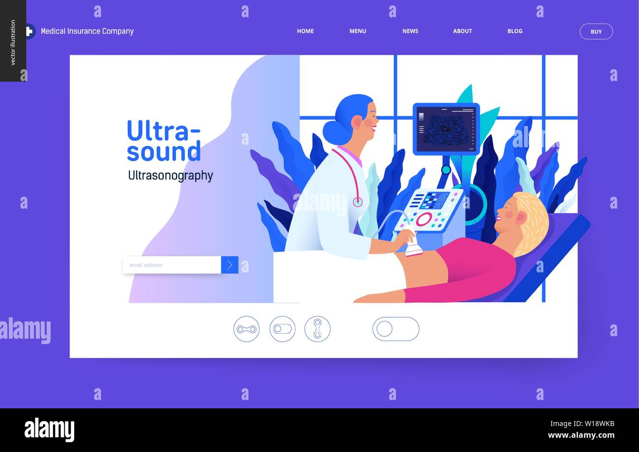 Medical tests Blue template -ultrasound - modern flat vector concept digital illustration of ultrasonography procedure -doctor examing patient pregnan Stock Vector