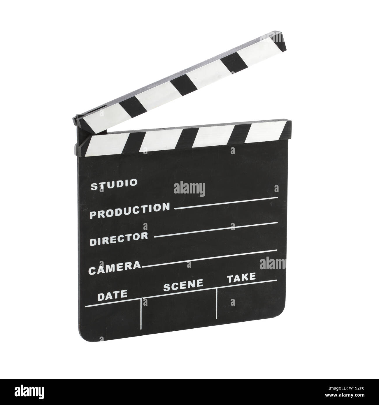 Classic Hollywood chalk clapperboard angled isolated on a white background with clipping path - Stock Image