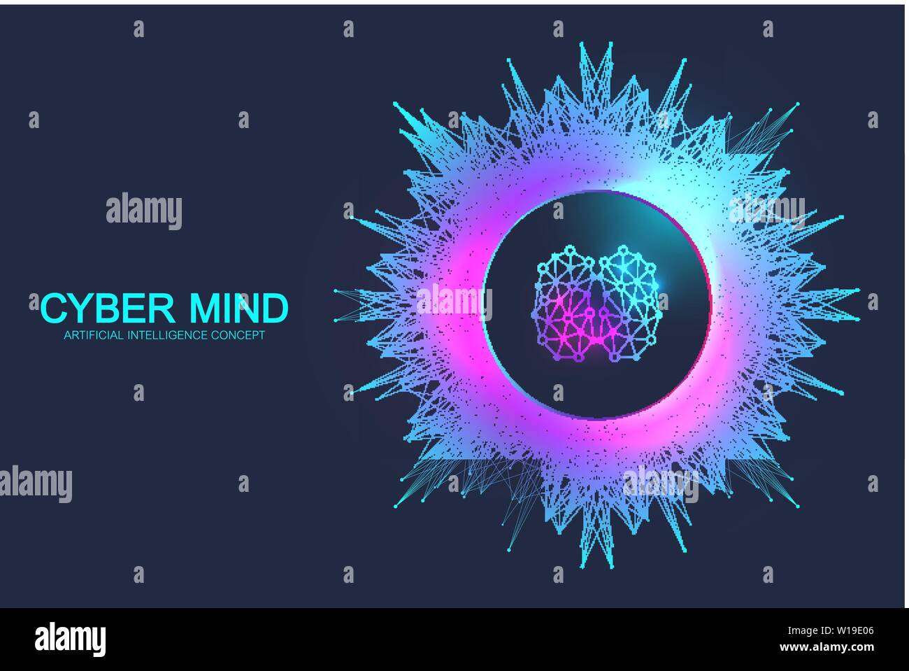 Cyber mind and Artificial Intelligence concept. Neural networks and another modern technologies concept. Brain Analysis. Futuristic cyber humanoid Stock Vector
