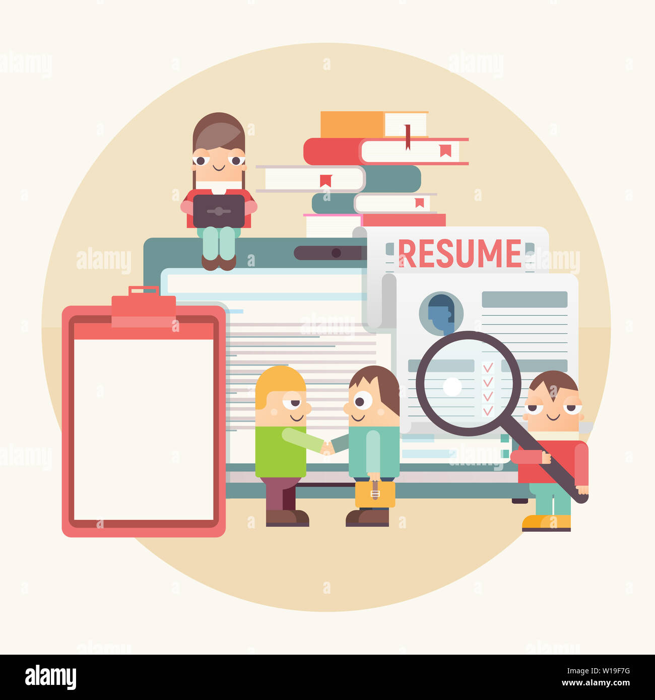 Flat Design Hiring Job Interview And Recruitment Concept Funny People Near Big Laptop Hiring New Employee Vector Illustration Job Interview Conc Stock Photo Alamy