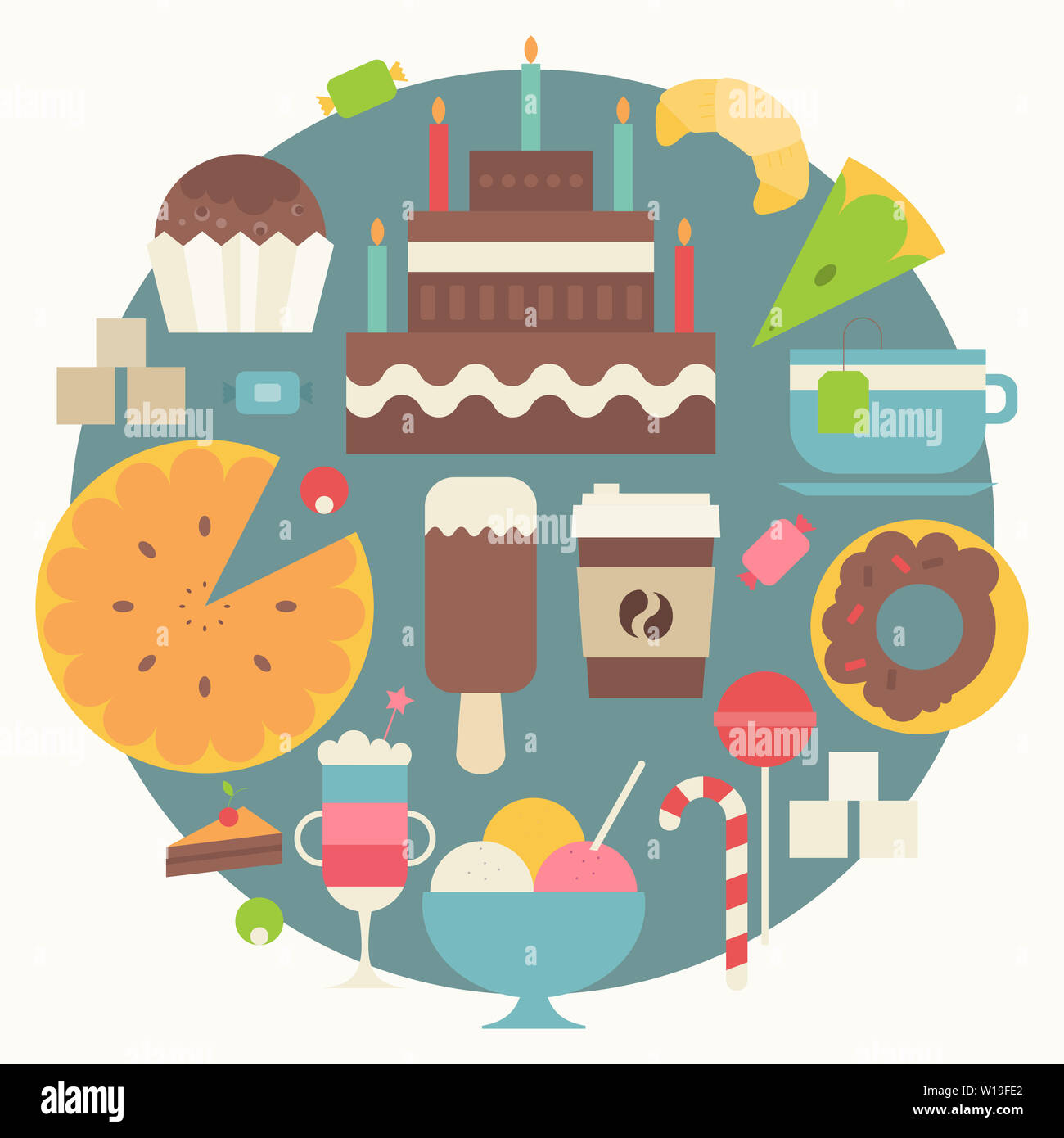 Collection of Sweets in Flat Style. Sweets, Cupcake, Donut, Ice Cream, Croissant, Big Cake, Coffee on Blue Circle  Background. Vector Illustration. Re Stock Photo