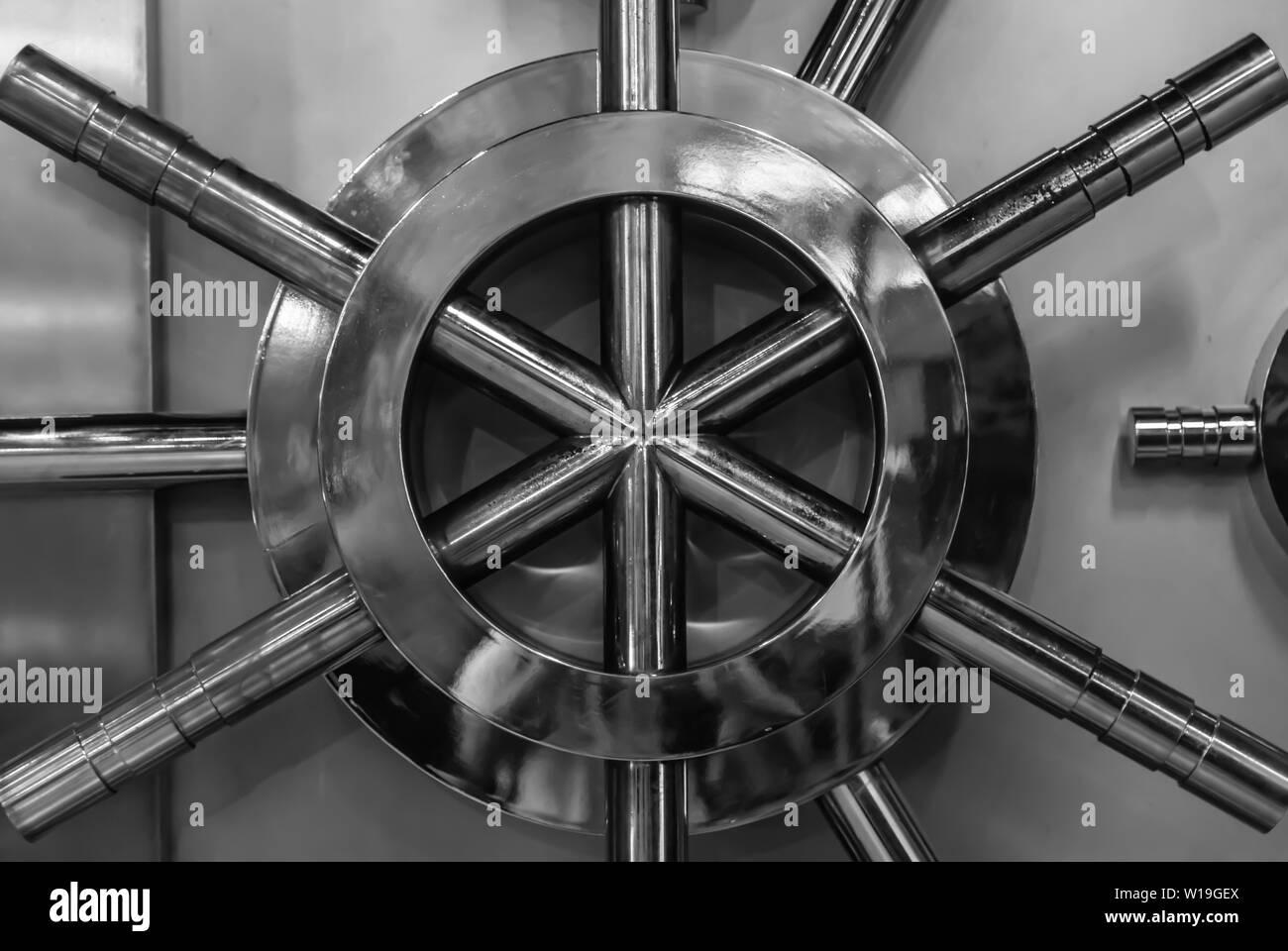 silver color bank security door facade closeup - Stock Image