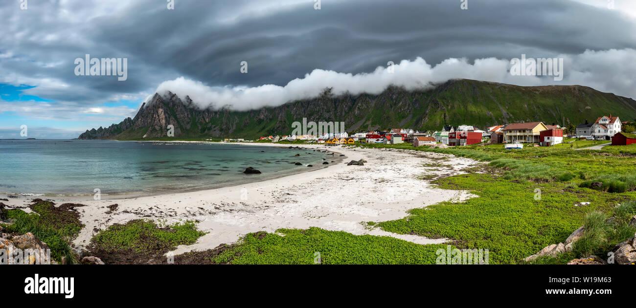 Bleik village, Lofoten Islands, Norway. - Stock Image