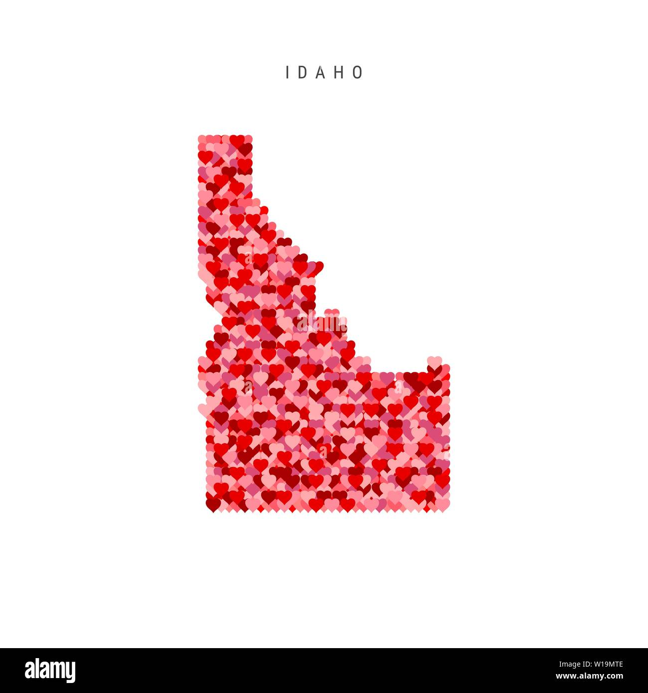I Love Idaho. Red and Pink Hearts Pattern Vector Map of Idaho Isolated on White Background. - Stock Image