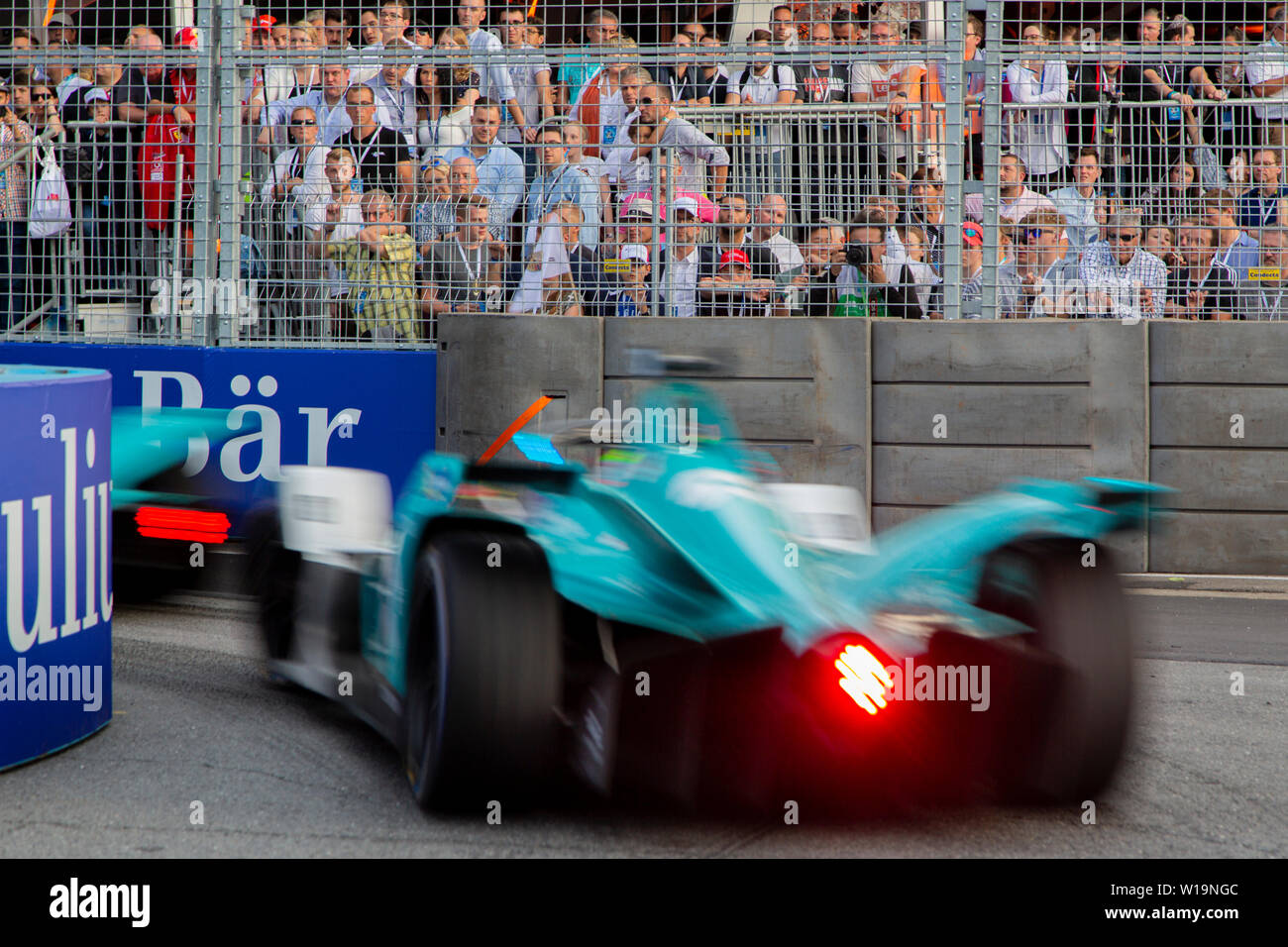 Tom Dillmann racing the street track of the Julius Bär Formula E race in the swiss capital Bern. Due to a car pile up before turn 1, the race was red flagged and restarted with the original grid position. The decision to use the original grid position was protested by several of the drivers who lost positions they had gained. Stock Photo