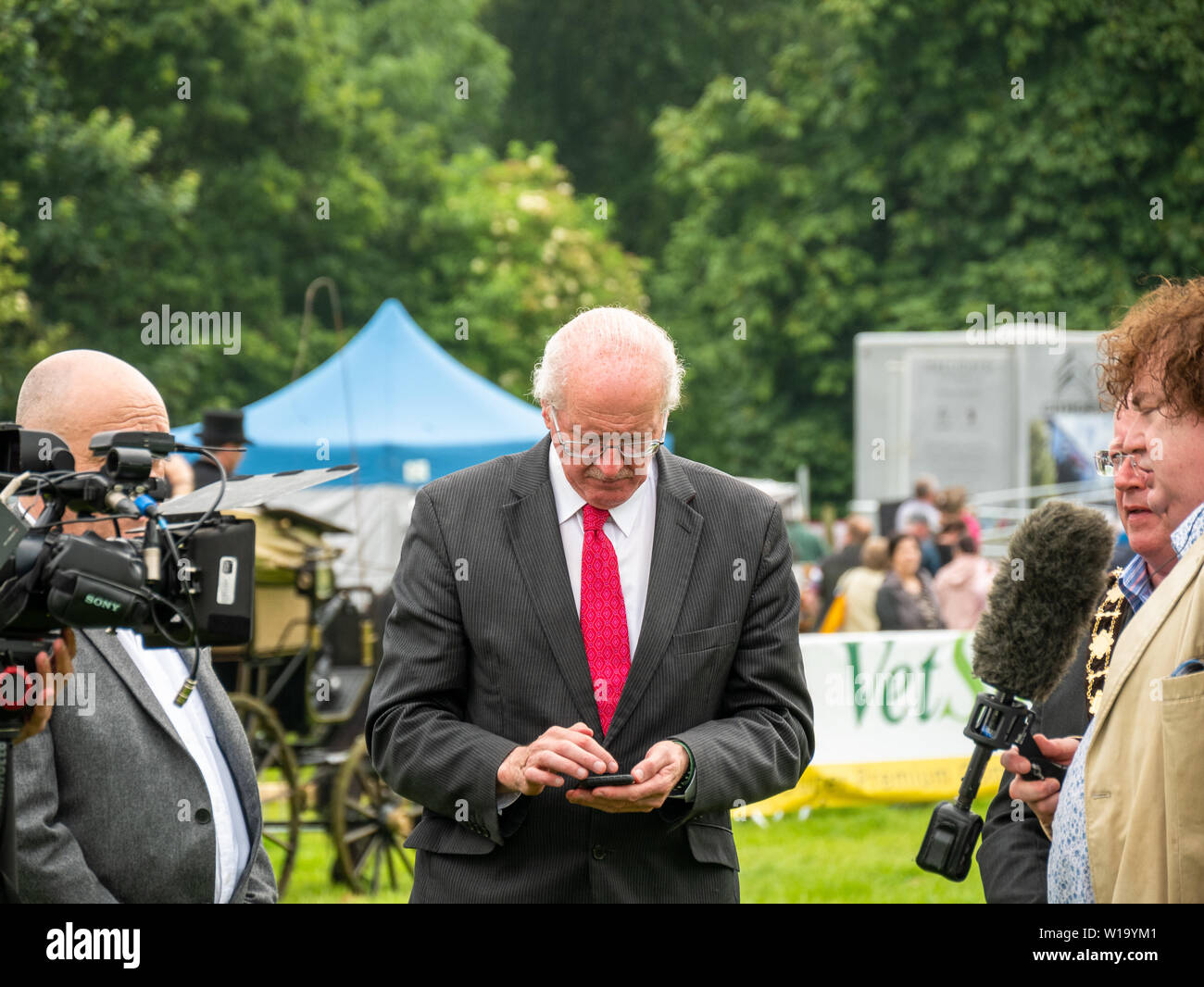 Antrim, Northern Ireland, UK, 29 June 2019: Jim Shannon, MP, Democratic Unionist Party, DUP, for Strangford at the Irish Game Fair and Fine Food Festival, Shanes Castle, Antrim, Northern Ireland. - Stock Image