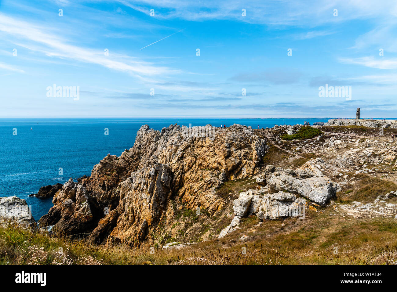 Point of Pen-Hir (Pointe de Pen-Hir) and the  monument to the Bretons of Free France Stock Photo