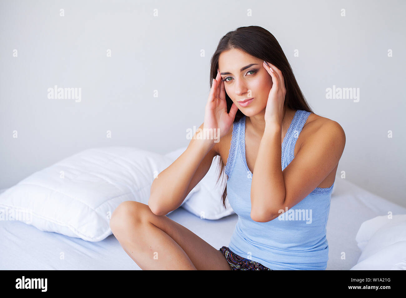 Beautiful Woman Feeling Sick, Having Headache, Painful Body Pain - Stock Image