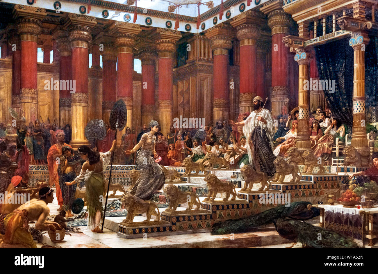 """King Solomon and the Queen of Sheba. """"The Visit of the Queen of Sheba to King Solomon"""" by Sir Edward John Poynter (1836-1919), oil on canvas, 1881-90 - Stock Image"""