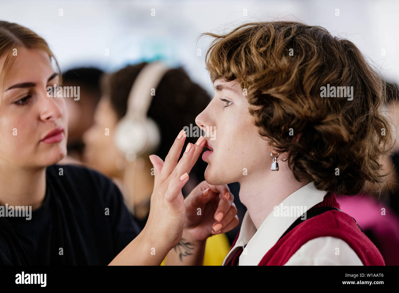 Berlin, Germany  1st July, 2019  A model prepares at the