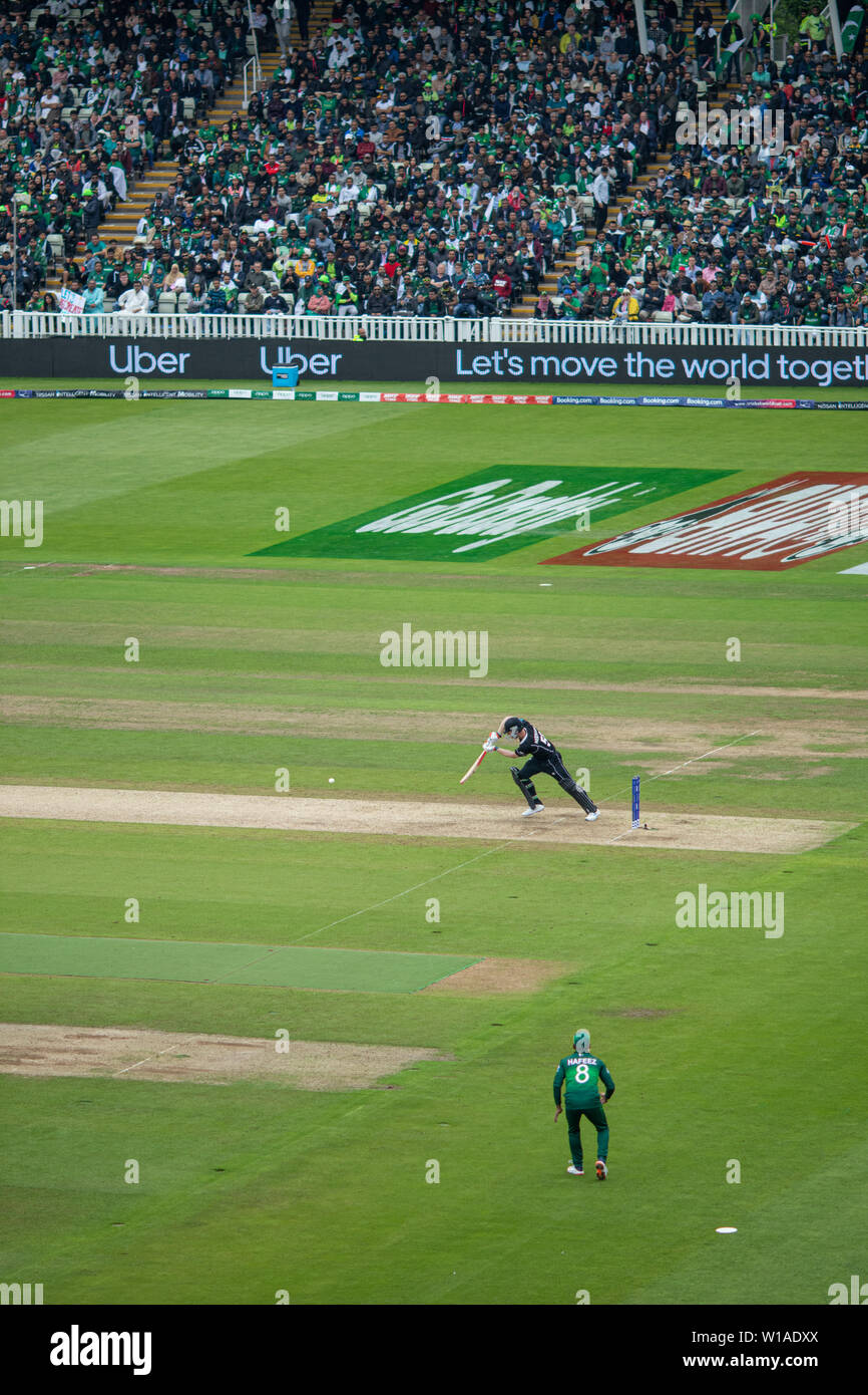 28th June 2019 - New Zealand batsman executing a perfect off drive during their 2019 ICC Cricket World Cup game against Pakistan at Edgbaston, UK Stock Photo