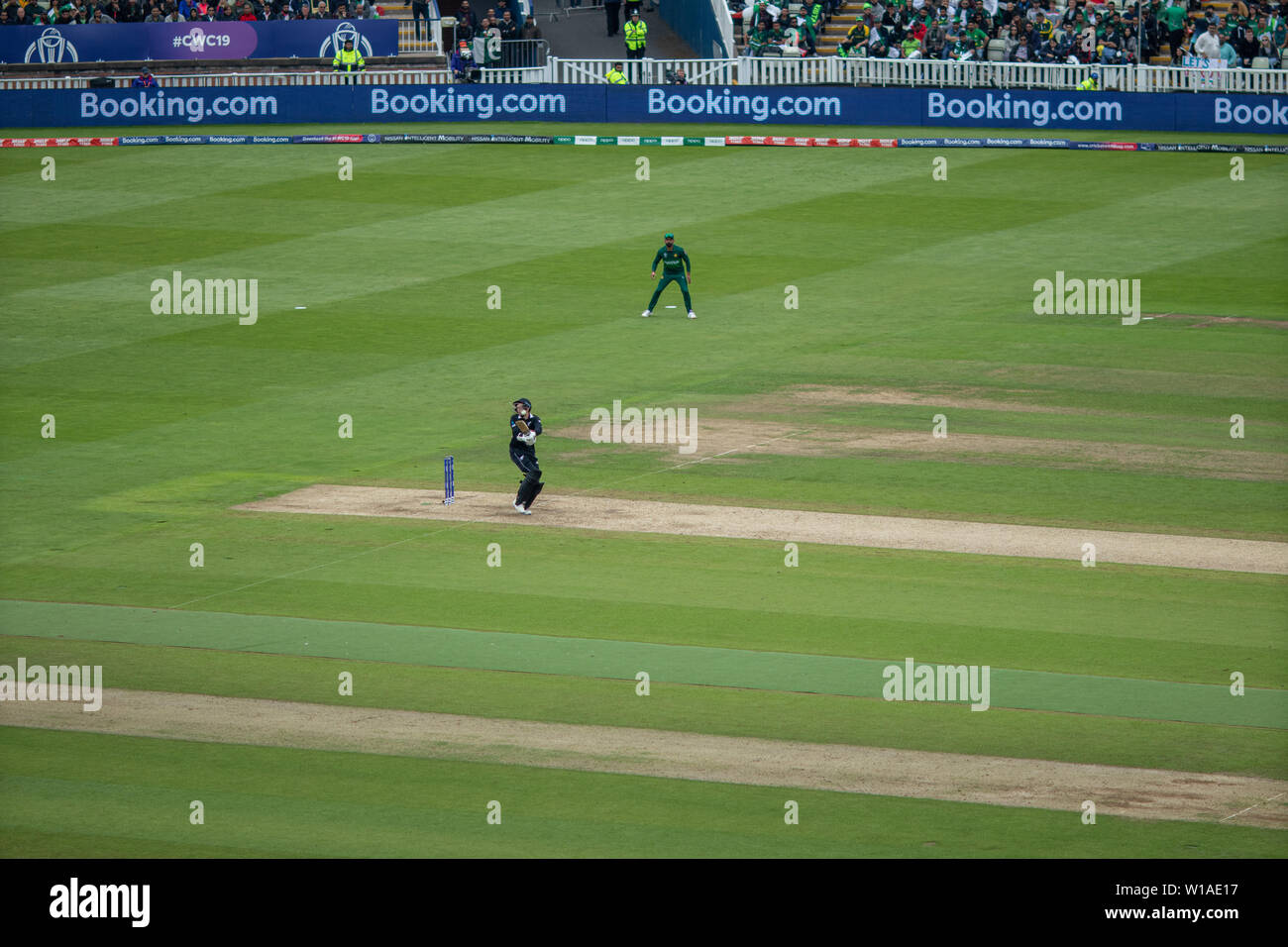 28th June 2019 - New Zealand batsman pulling the ball for four runs during their 2019 ICC Cricket World Cup game against Pakistan at Edgbaston, UK Stock Photo