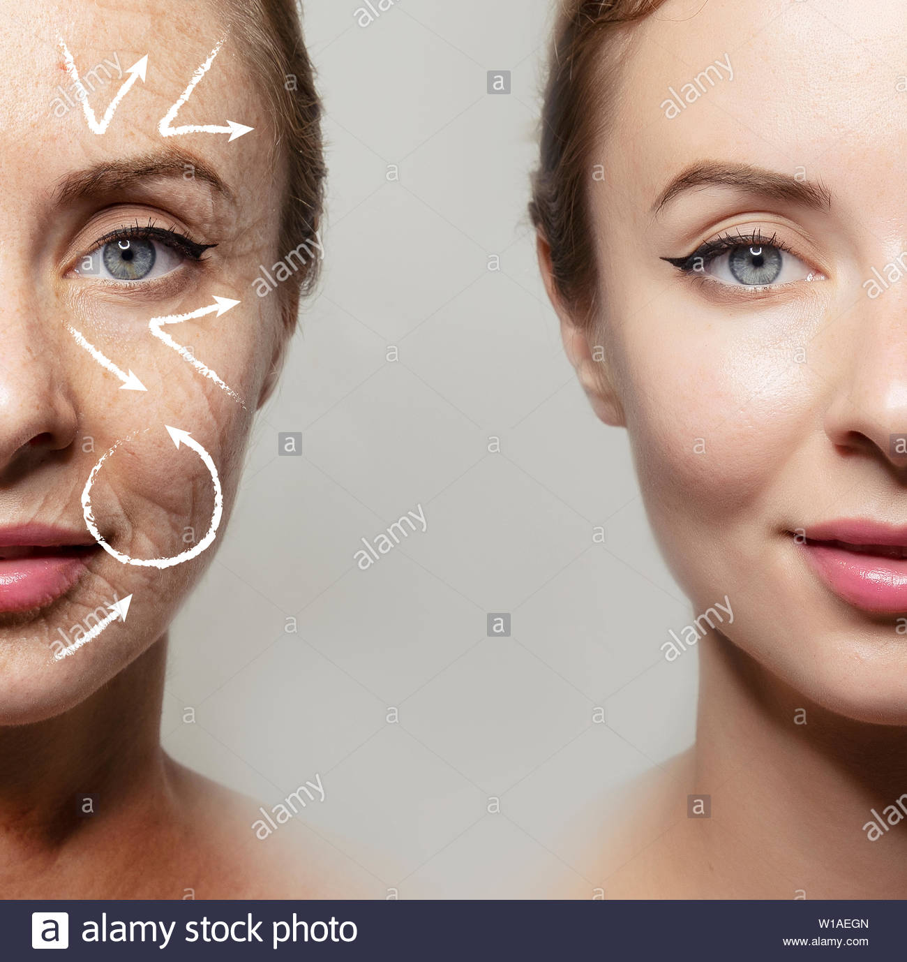Health supplement female face anti-aging beauty cosmetics banner - Stock Image
