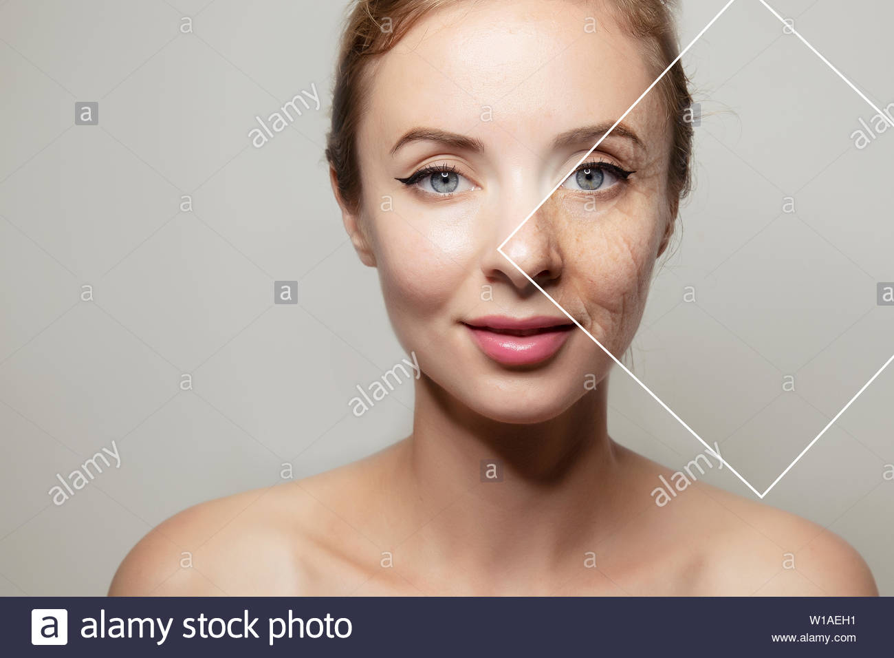 Health Supplement Female Face Anti Aging Beauty Cosmetics Banner Stock Photo Alamy