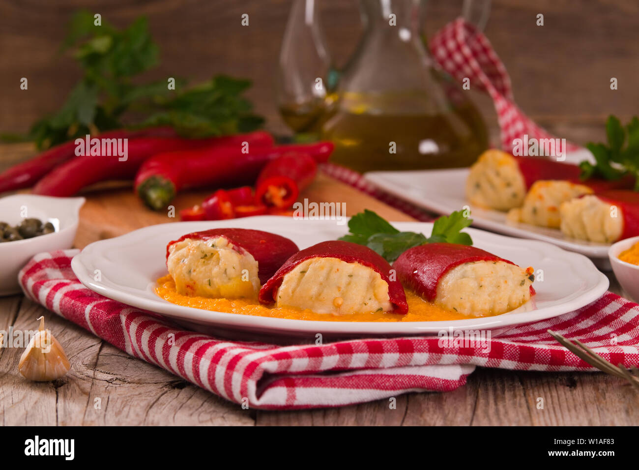 Stuffed piquillo peppers with cod. - Stock Image