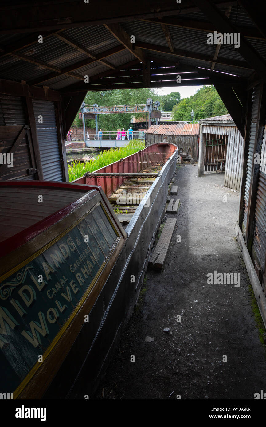Dry dock for canal boat repairs, Black Country Living Museum, Dudley UK - Stock Image