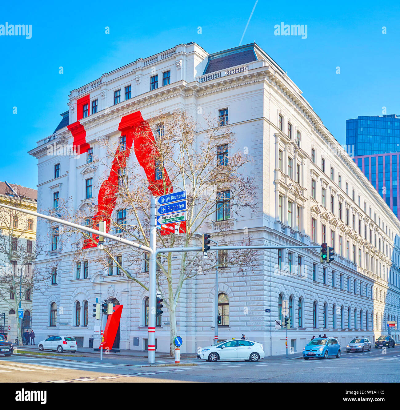 VIENNA, AUSTRIA - FEBRUARY 18, 2019: The facade of the historical Library of University for Applied Art with unusual modern decoration, on February 18 Stock Photo
