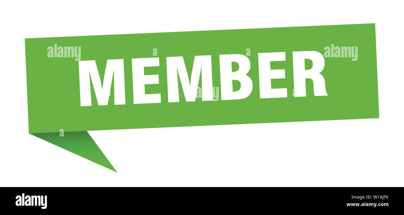 member speech bubble. member sign. member banner - Stock Image