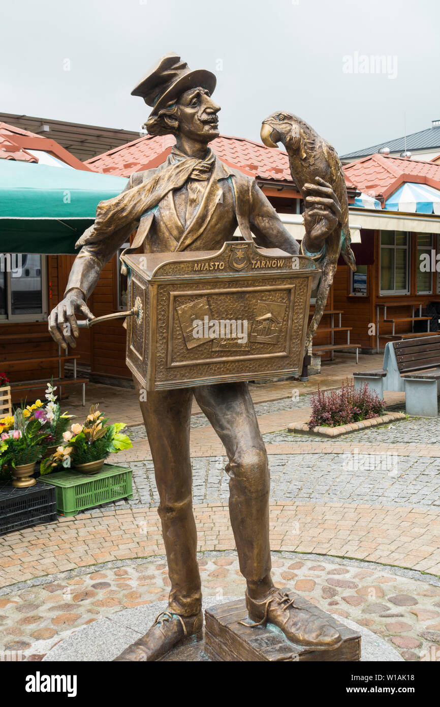Statue of an Organ Grinder and Parrot,Tarnow,Poland,Europe. - Stock Image