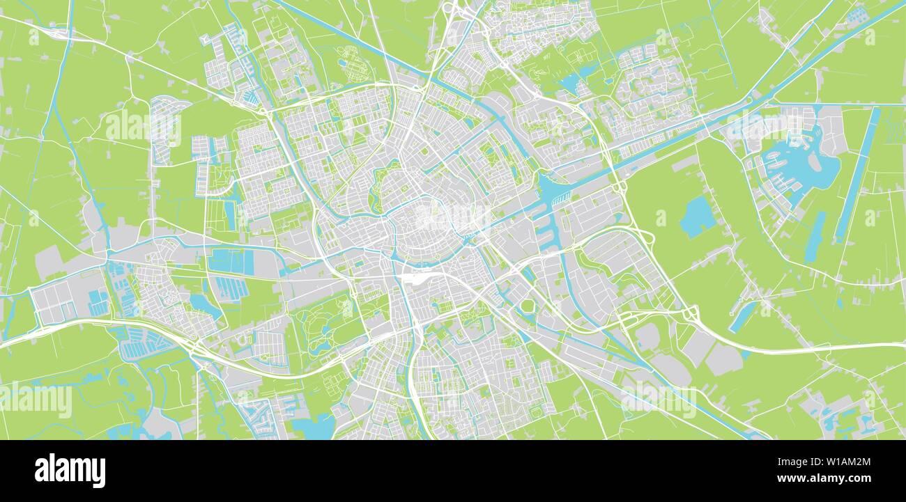 Urban vector city map of Groningen, The Netherlands Stock ...