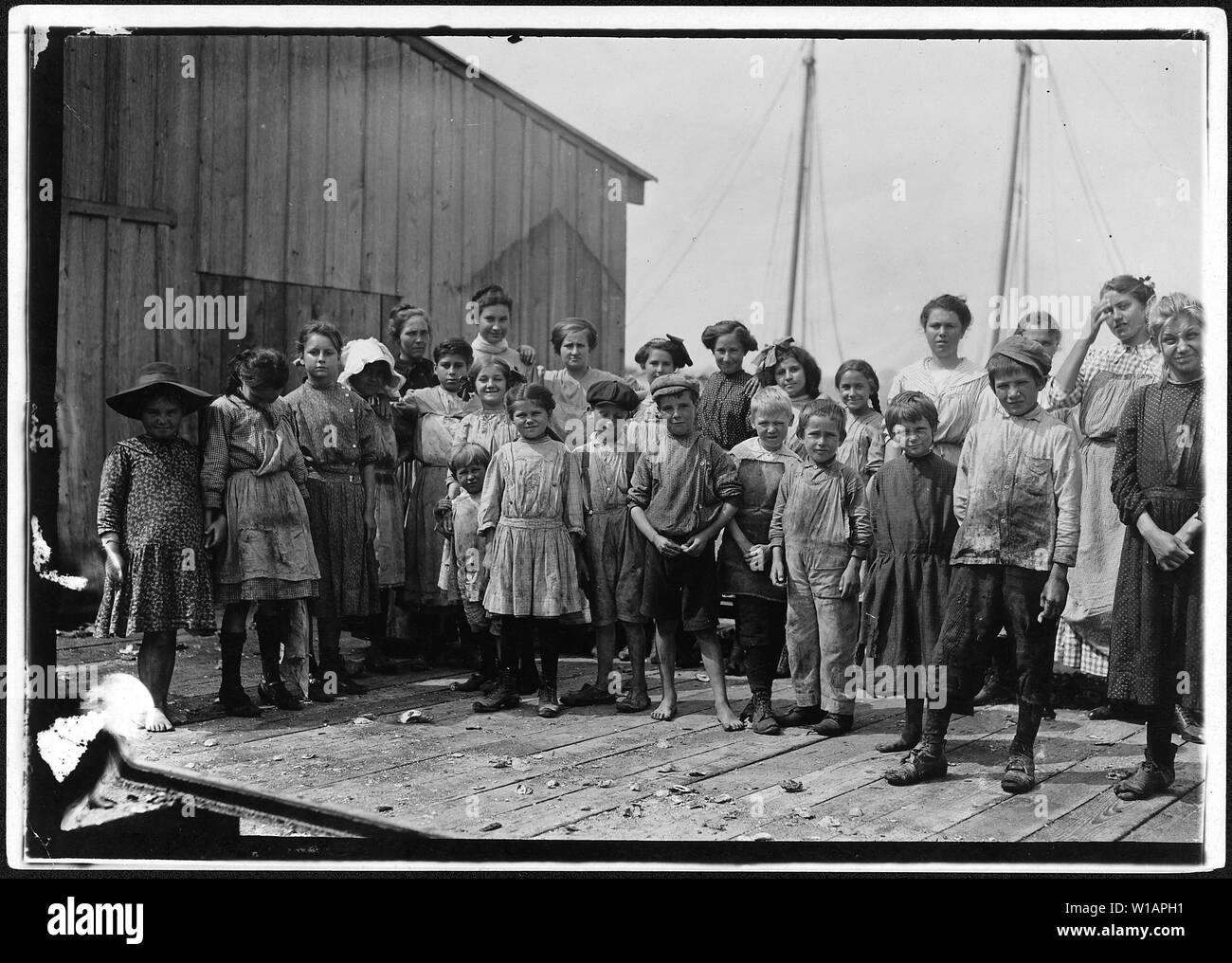 All these pick shrimp at the Peerless Oyster Co. I had to take photo while bosses were at dinner as they refused to permit the children to be in photos. Out of 60 workers, 15 were apparently under 12 years old. Bay St. Louis, Miss. - Stock Image