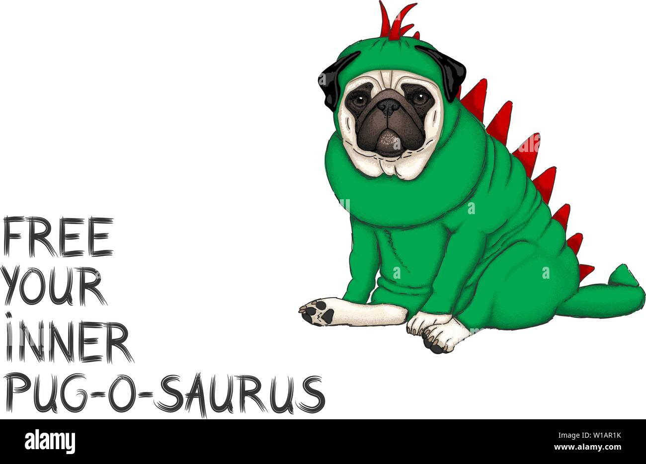 hand drawn vector illustration of pug dog dressed up in dinosaur costume with text free your inner pug o saurus, isolated Stock Vector