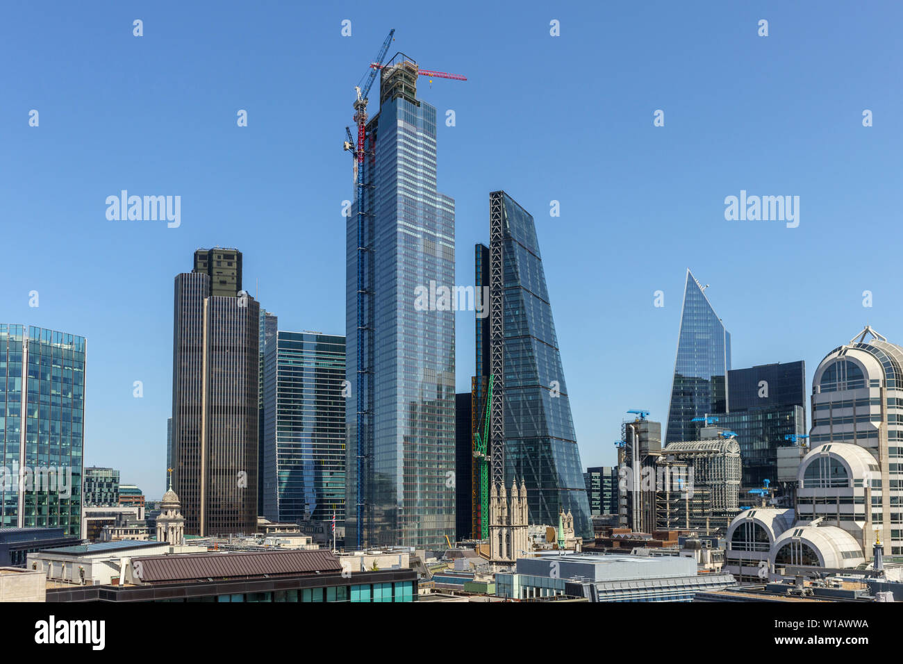 Skyscrapers, City of London financial district: Stock Exchange Tower, Tower 42, 100 & 22 Bishopsgate, Cheesegrater, Scalpel, 20 Gracehurch Street - Stock Image