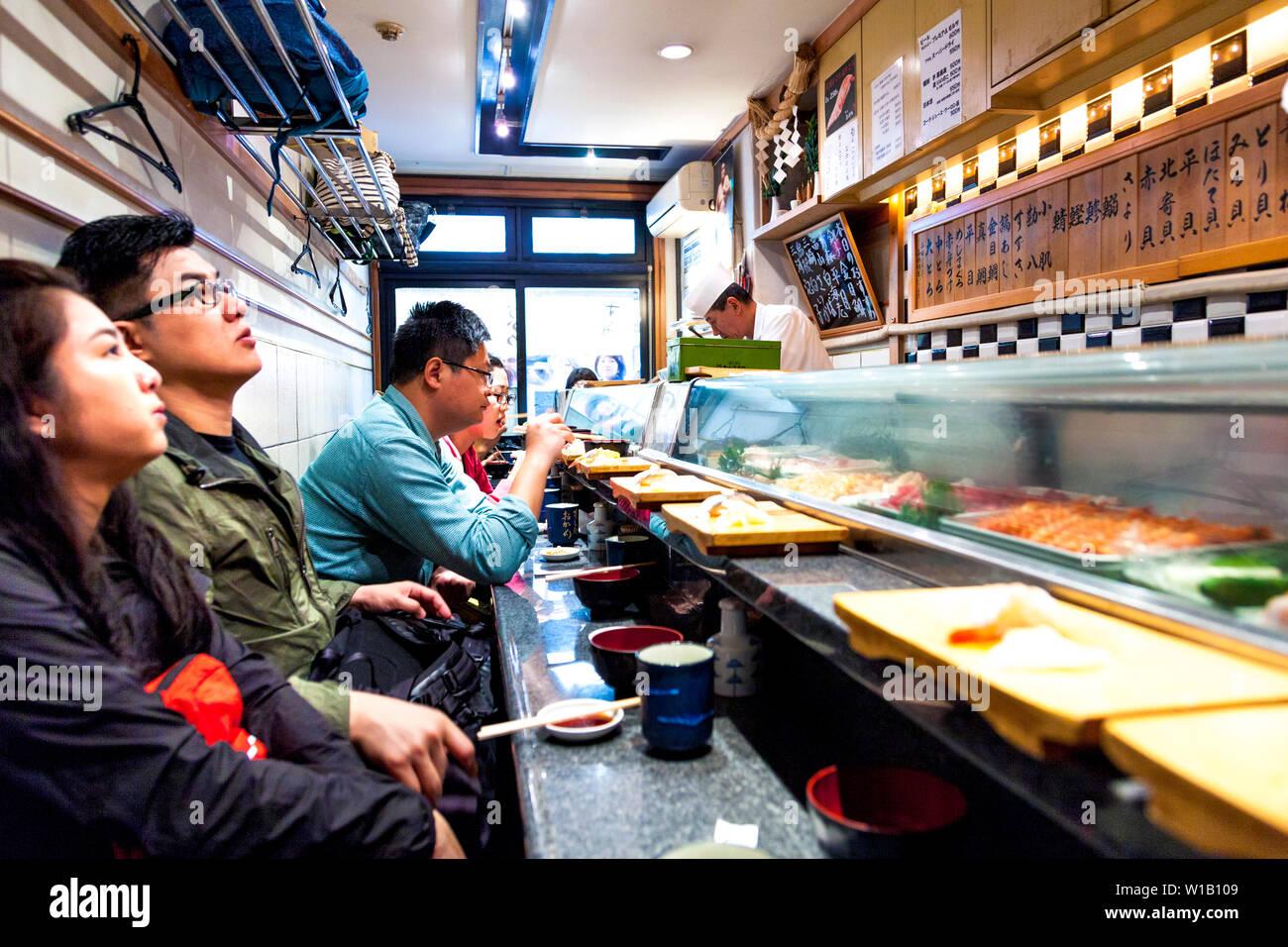 Small Sushi Restaurant Interior At Tsukiji Fish Market In Tokyo Japan Stock Photo Alamy